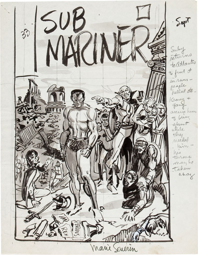 Sub-Mariner 33 preliminary cover by Marie Severin